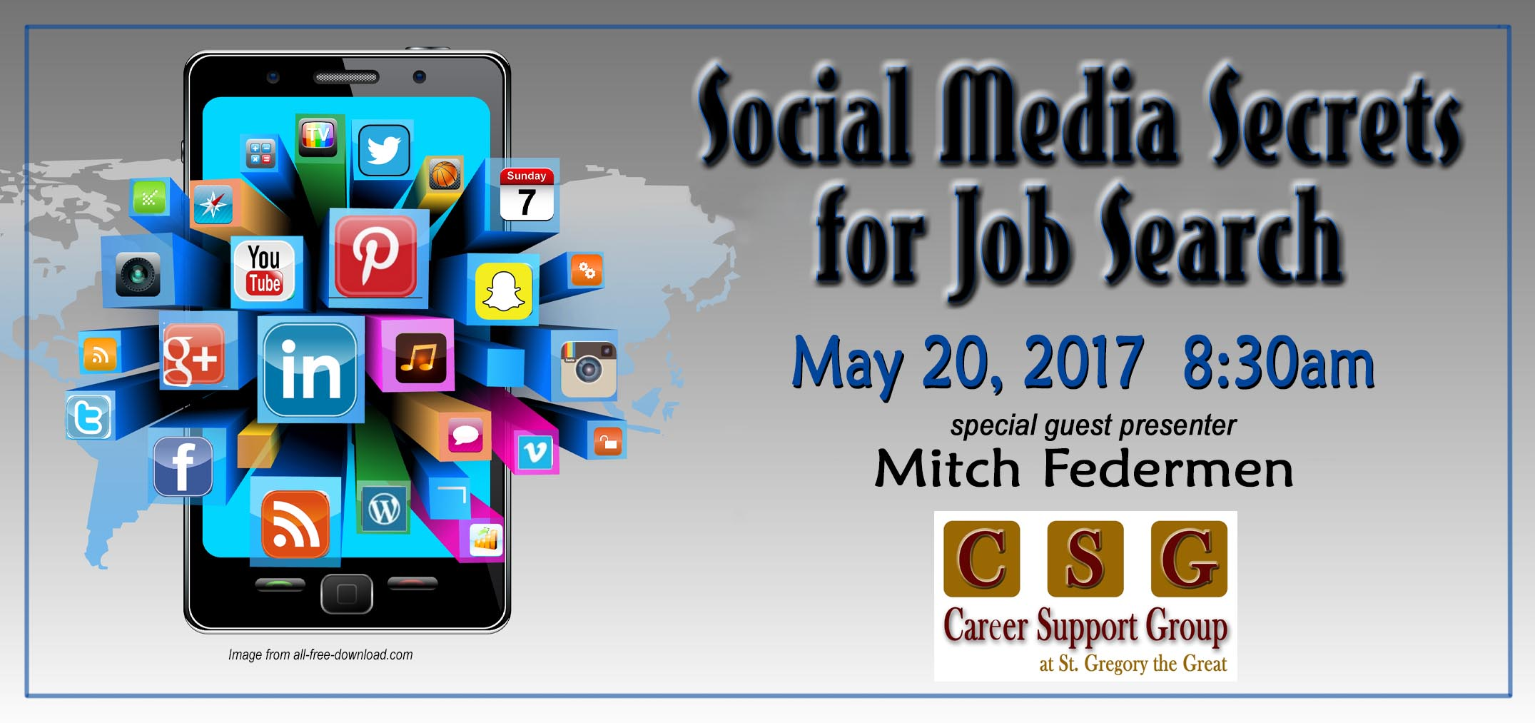 social media secrets for the job search featuring mitch federmen career support group at st. Black Bedroom Furniture Sets. Home Design Ideas